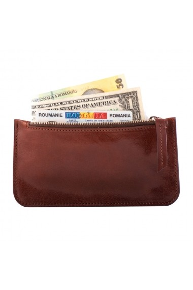 KIT cadou EA - portofel multifunctional e-store - breloc piele naturala maro