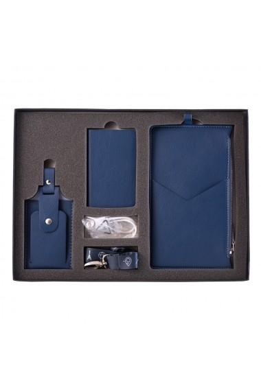 KIT calatorie 4000 e-store portofel calatorie + tag bagaje + baterie externa telefon albastru