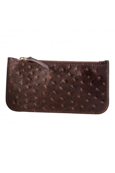 KIT Luxury EA portofel multifunctional e-store breloc piele naturala maro
