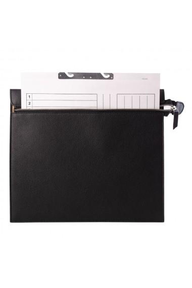 Mapa documente cu fermoar e-store piele naturala negru