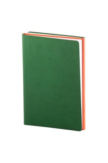 Notes Twin A5 hartie alba liniatura+ matematica Verde/Portocaliu