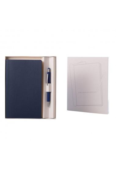 Set Flexi notes 12.5 x 20.5 cm hartie alba liniatura albastru + pix