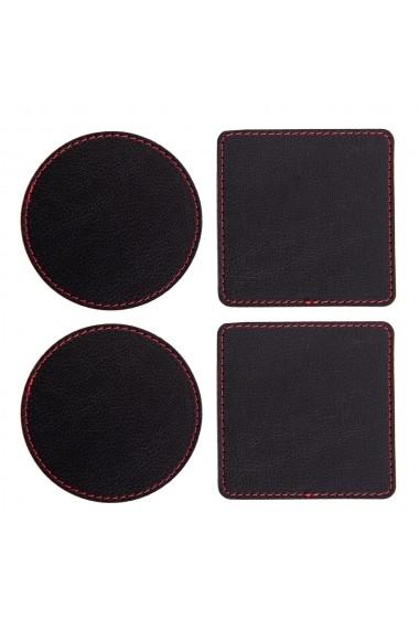 Set suport pahare e-store cusut perimetral negru