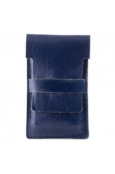Suport incarcare telefon e-store piele naturala albastru