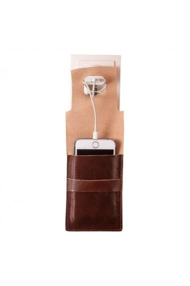Suport incarcare telefon e-store piele naturala maro