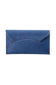 Etui card suport carti de vizita piele ecologica Twin albastru UNIKA