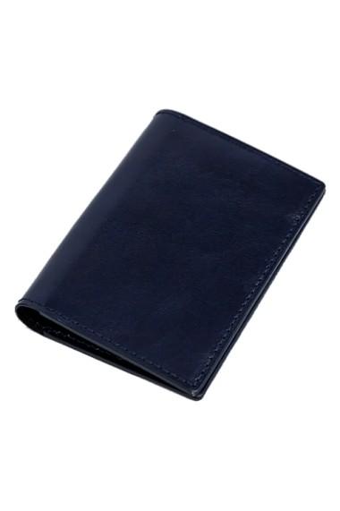 Port Card Piele Naturala Albastru
