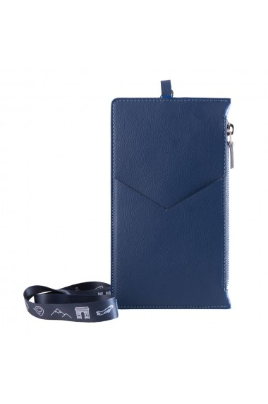 Portofel calatorie e-store piele albastru