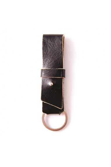 Breloc piele naturala Vintage negru