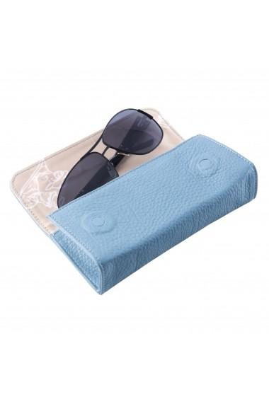Etui piele naturala Ochelari cu magnet VF Bleu