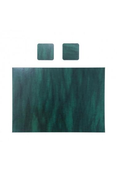 Mapa birou piele ecologica Basic Mk + 2 Suporti pahar CADOU verde inchis