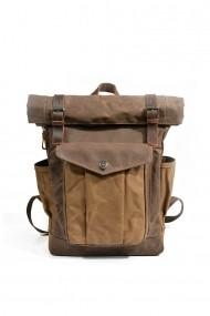 Rucsac din piele naturala si material textil cerat URBAN BAG Denver II Coffee