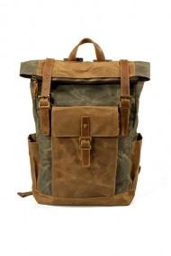 Rucsac din piele naturala si material textil cerat URBAN BAG Denver Verde