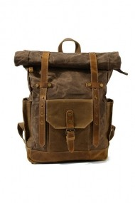 Rucsac din piele naturala si material textil cerat URBAN BAG Boston Coffee