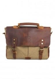 Geanta laptop din piele naturala si material textil URBAN BAG Oxford Khaki