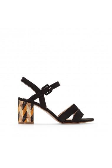 Sandale cu toc La Redoute Collections GEH983-black Negru