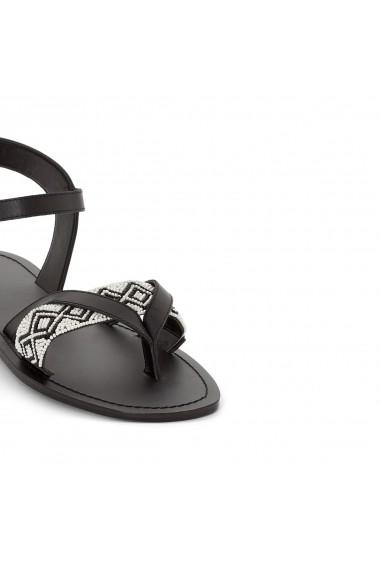 Sandale plate La Redoute Collections GES278 negru - els