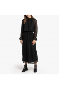 Rochie midi neagra cu maneca lunga transparenta si guler in V La Redoute Collections GGQ101