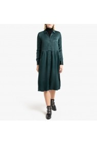 Rochie midi verde cu maneca lunga si guler clasic La Redoute Collections GGQ589