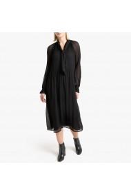 Rochie midi neagra cu pliuri si maneci lungi transparente La Redoute Collections GGR120