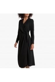 Rochie midi neagra cu maneca lunga si snururi laterale La Redoute Collections GGR126