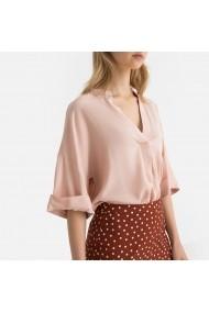 Bluza roz cu guler mandarin si maneci scurte La Redoute Collections GGA659 roz