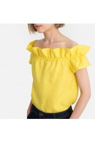 Bluza galbena cu maneci scurte si decolteu stil bardot cu volane La Redoute Collections GGA692
