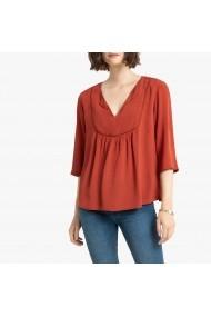 Bluza caramizie larga cu decolteu in V si maneci lungi La Redoute Collections GGP716