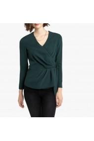 Bluza verde cu maneci lungi si aspect parte peste parte La Redoute Collections GGQ851