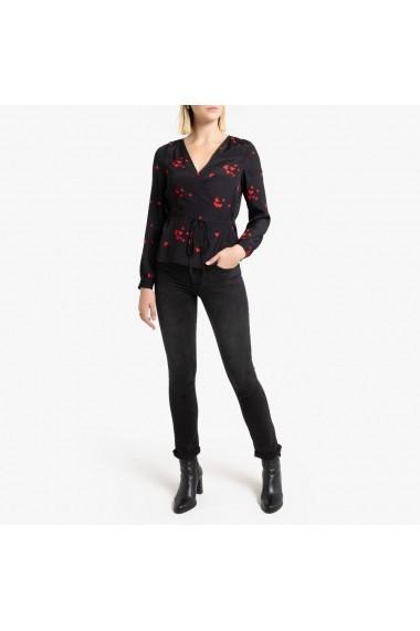 Bluza neagra cu maneci lungi aspect parte peste parte La Redoute Collections GGY987