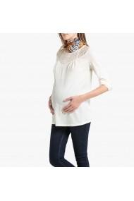 Bluza crem pentru gravide cu maneci lungi si decolteu rotund La Redoute Collections GGS295