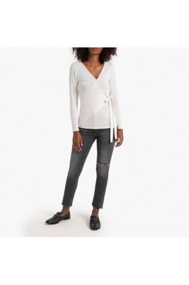 Bluza roz cu maneci lungi si aspect parte peste parte La Redoute Collections GHE131
