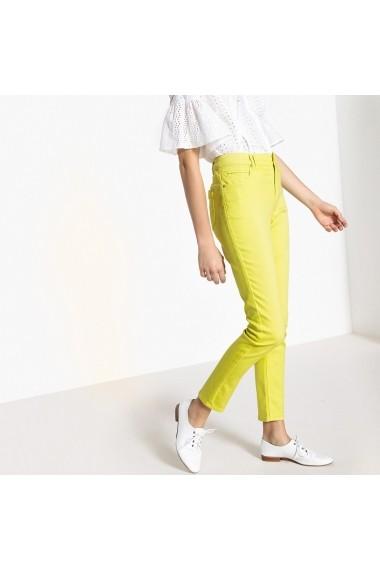 Pantaloni slim La Redoute Collections GEL866 galben - els