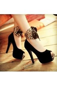 Pantofi cu toc DELISIYIM Leopar Negru