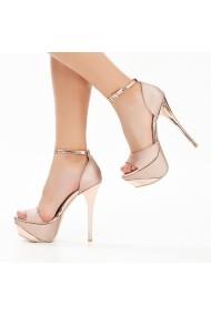 Sandale cu toc DELISIYIM Likare Bronz