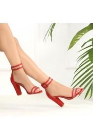 Sandale cu toc DELISIYIM Lovera Rosu