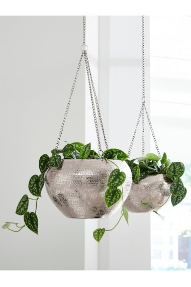 Ghiveci decorativ heine home 007231 argintiu H/diam. 13/21 cm - els