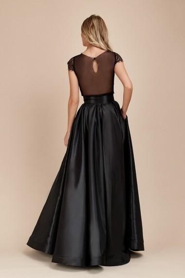 Fusta Eleganta Neagra Lunga din Tafta