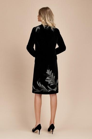 Palton Negru Elegant din Catifea Accesorizat Duchess