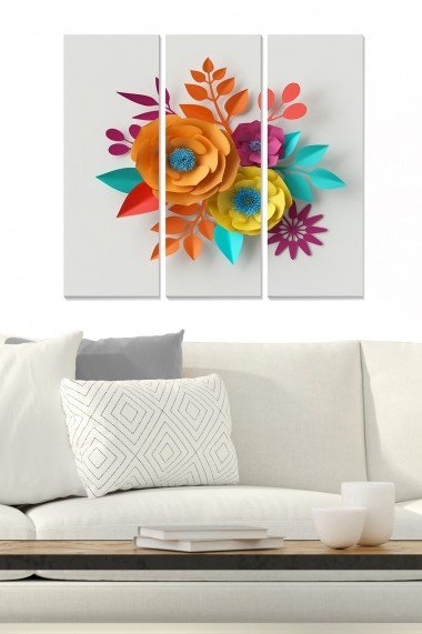 Tablou decorativ (set 3 piese) Bianca 553BNC3315 multicolor