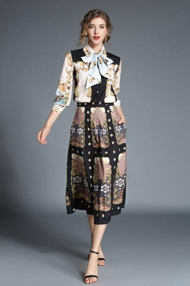 Set camasa si fusta lunga Kaimilan QH562 Multicolor