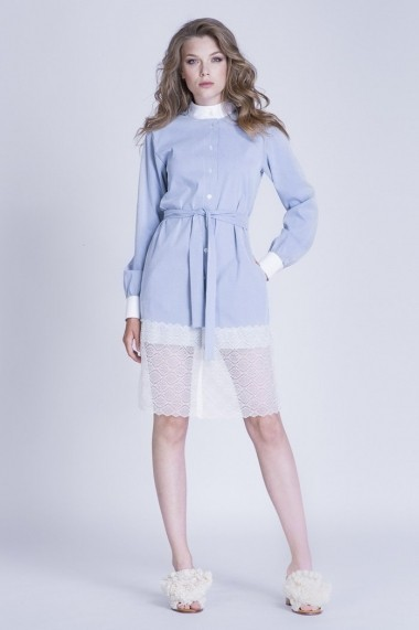 Rochie de zi BLUZAT tip camasa cu aplicatie de dantela
