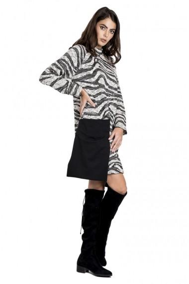 Rochie de zi Bluzat din lana cu buzunare supradimensionate gri