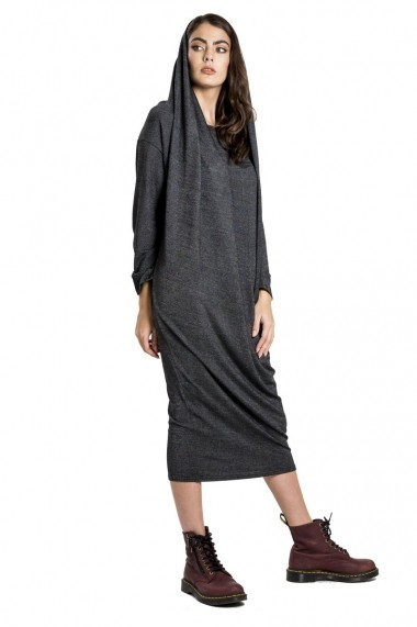 Rochie de zi Bluzat cu gluga multifunctionala gri