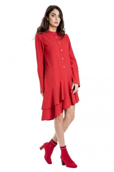 Rochie de zi Bluzat stil tunica cu volane rosie