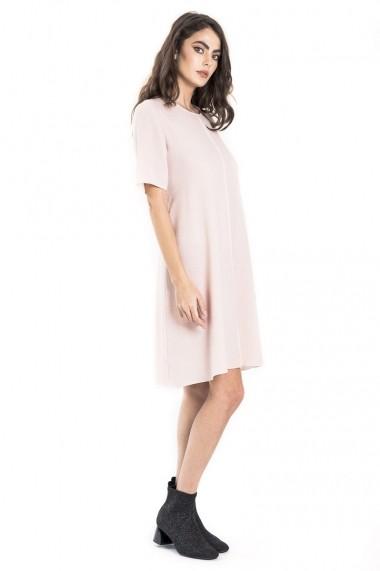 Rochie de zi Bluzat dreapta cu cordon roz