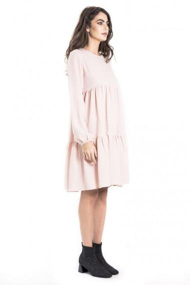 Rochie de zi Bluzat midi din crep cu volane roz