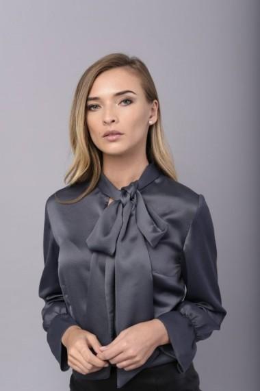 Camasa gri perlat Couture de Marie cu esarfa ATTITUDE
