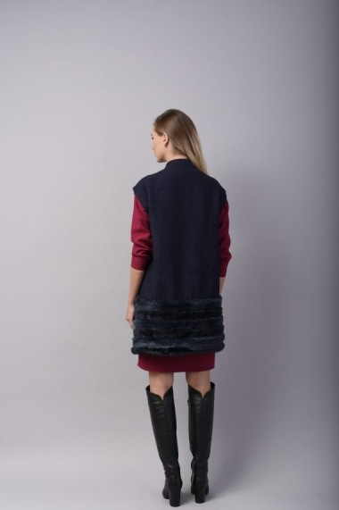 Vesta Couture de Marie din stofa de lana si blana ecologica bleumarin GRATITUDE