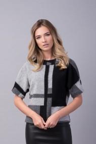 Pulover Couture de Marie gri si negru din lana ACCEPT